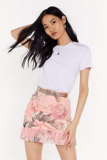 Womens Coral Not Meshin' Floral Mini Skirt