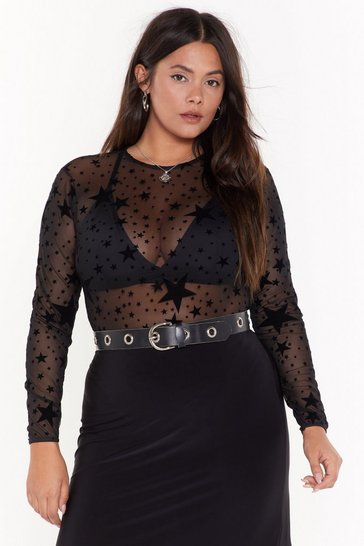 Womens Black How Star Will You Go Plus Sheer Bodysuit