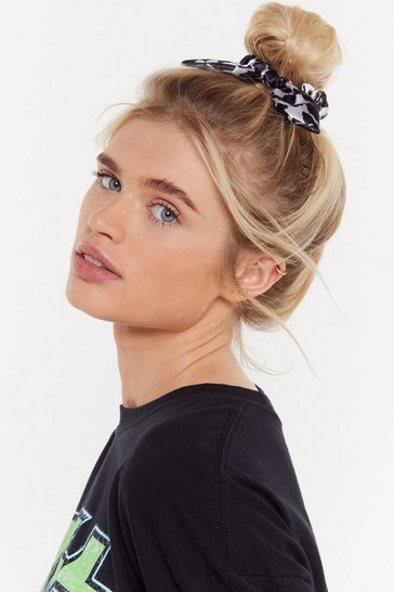 Womens Black Forever Wild Animal Hair Scrunchie