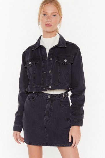 Womens Black Party in the Western Buckle Denim Jacket