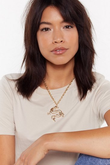Womens Gold Can You Handle the Heat Dragon Chain Necklace
