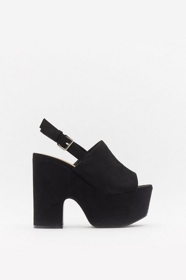 Womens Black High Vamp Slingback Notch Platforms