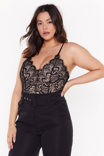 Womens Black Lace Spend the Night Together Plus Bodysuit