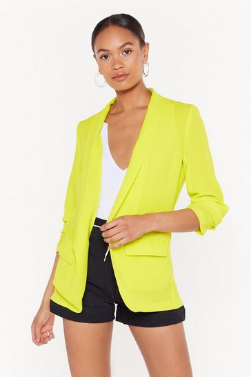 Womens Lime Sleeve Me Be Ruched Longline Blazer
