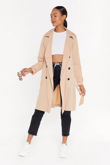 Womens Beige Belted Trench