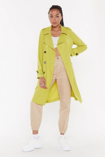 Womens Chartreuse Belted Trench