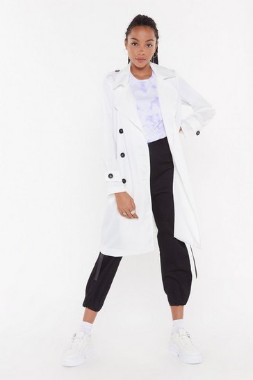 Womens White Belted Trench