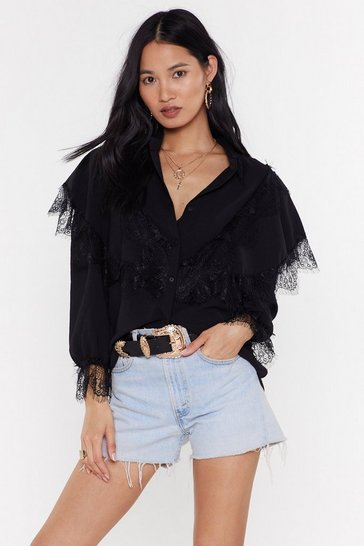 Womens Black Lace Night Ruffle Shirt