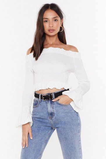 Womens White Shirr Here to Party Off-the-Shoulder Top