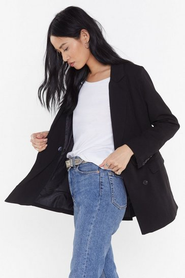 Black Double Breasted Relaxed Blazer with Button-Down Closure