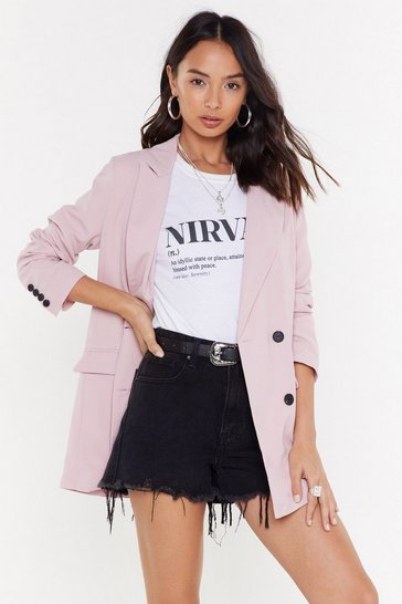 Womens Pink Make That a Double Breasted Relaxed Blazer