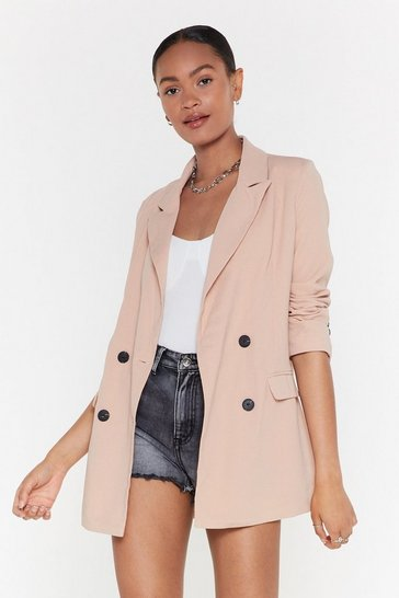 Womens Taupe Make That a Double Breasted Relaxed Blazer