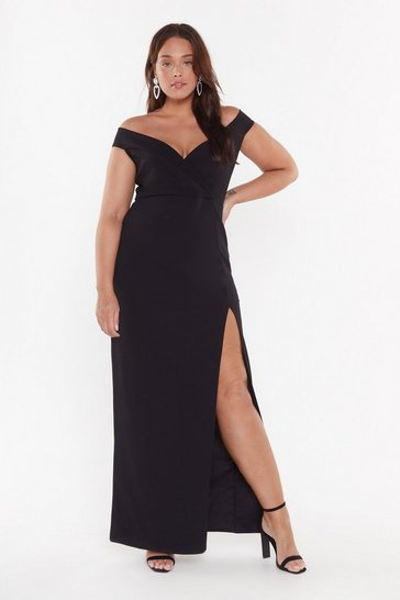 Womens Black Evening Things Out Plus Maxi Dress