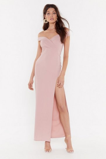 Womens Rose This is Split Off-the-Shoulder Maxi Dress