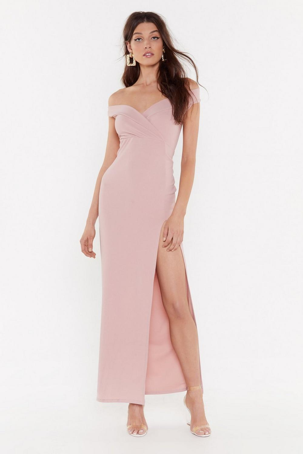 This is Split Off-the-Shoulder Maxi Dress