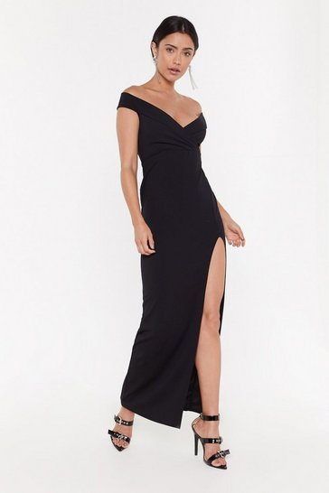 Womens Black You Can't Slit with Us Off-the-Shoulder Maxi Dress