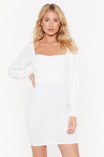 Womens White MS Square Neck Long Sleeve Mini Dress