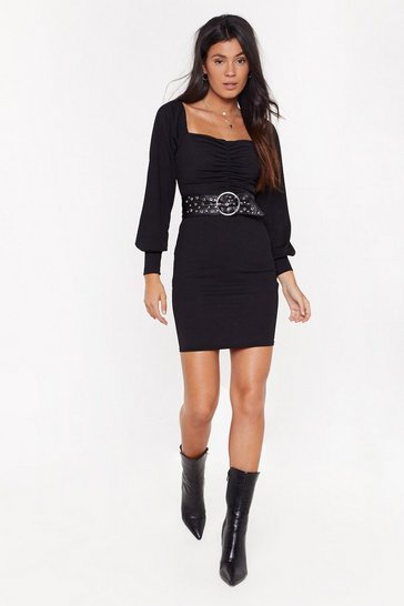 Womens Black All Night Long Ruched Mini Dress