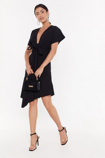 Womens Black MS Plunge Asymmetric Midi Dress