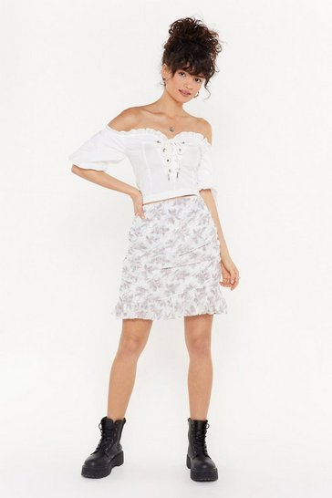 Womens White I'll Never Leaf You Floral Mini Skirt