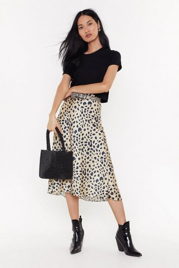 Womens Beige Won't Change My Spots Bias Cut Midi Skirt