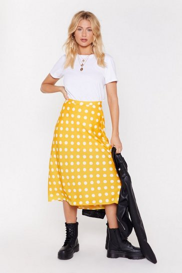 Womens Yellow Got the Spots For You Bias Cut Midi Skirt