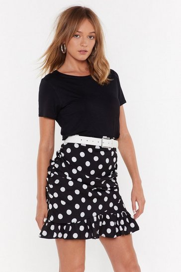 Black Only One Got Spot Ruffle Hem Mini Skirt