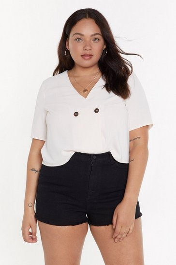 Womens Ecru Outside the Box Plus Cropped Blouse