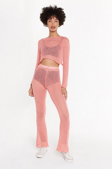 Womens Coral Keep Knit Up Crop Top and Trousers Set