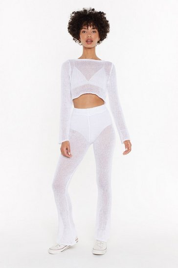 Womens White Keep Knit Up Crop Top and Trousers Set