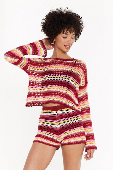 Womens Berry Be Bright Back Crochet Jumper