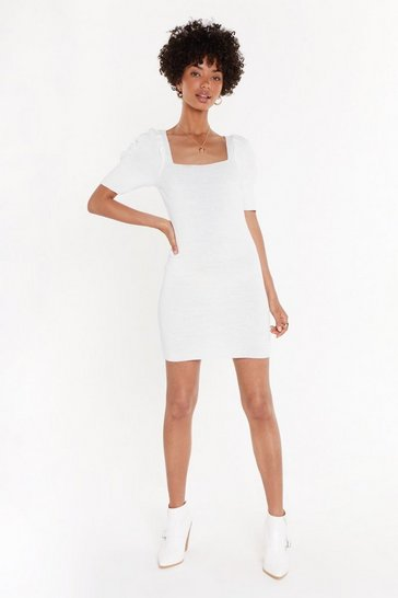 Womens White Square Neck Puff Sleeve Knit Mini Dress