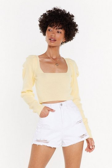 Womens Lemon Some Like Knit Hot Puff Cropped Top