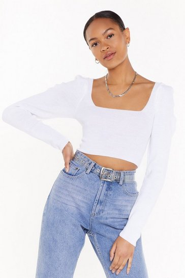 White Squareneck Puff Sleeve Knitted Top