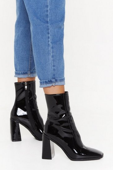 Black Patent Faux Leather Square Toe Boots