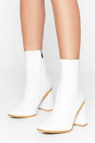 Womens White Patent Square Toe Flare Heel Sock Boot