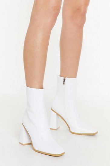 Womens White PU Matte Square Toe Flare Heel Sock Boot
