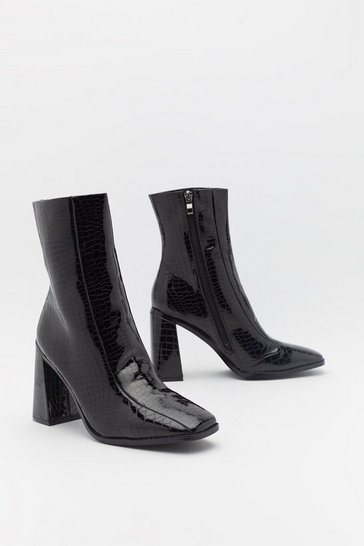 Womens Black PU Matte Croc Square Toe Flare Heel Sock Boot