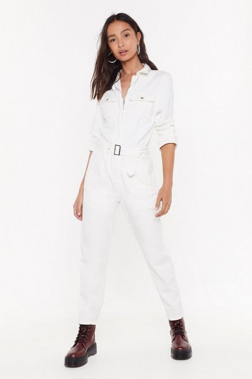Womens White When Love Takes Over-sized Denim Boilersuit