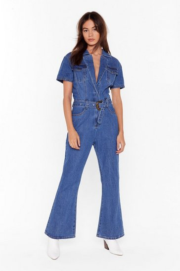 Womens Indigo Why Should We Flare Denim Boilersuit