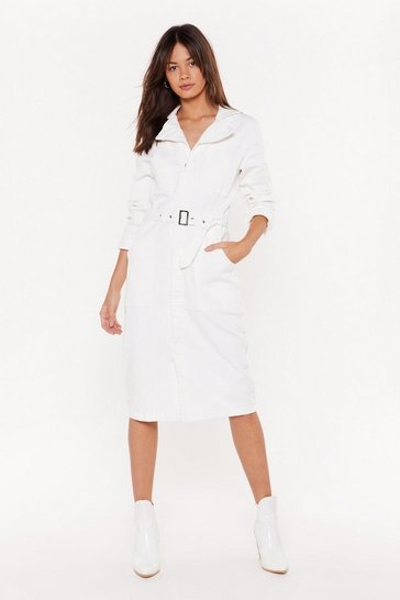 Womens White Shift the Blame Denim Midi Dress