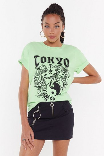 Womens Neon-green Lost in Tokyo Graphic Tee