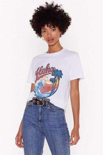 Womens White Aloha Honey Washed Graphic Tee