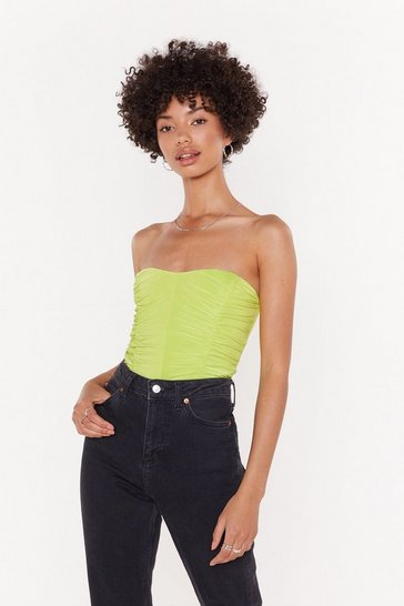 Womens Lime Feelin' Slinky Strapless Ruched Bodysuit