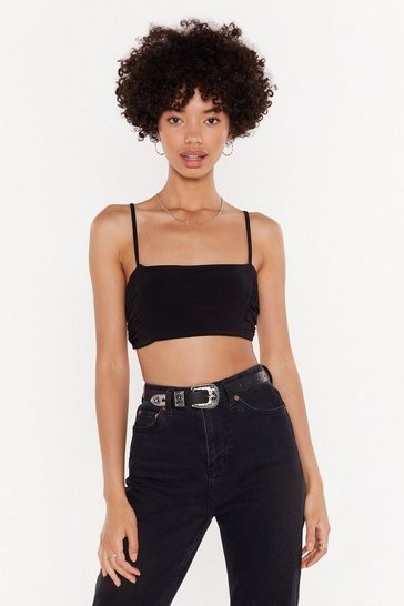 Womens Black Slinky Ruched Side Micro Bralet