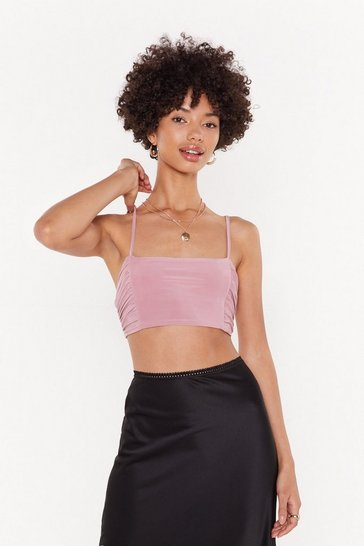 Womens Dusky pink Slinky Ruched Side Micro Bralet