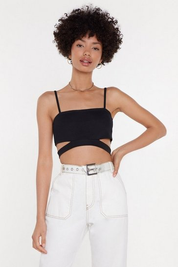 Womens Black Crepe Cut Out Strappy Crop Top