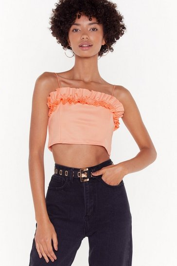 Womens Coral Tier Comes Revenge Ruffle Crop Top