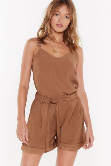 Womens Tan Come Out of Your Tortoiseshell O-Ring Top