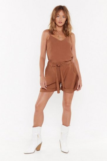 Womens Tan On a Roll High-Waisted Belted Shorts
